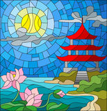 Stained glass illustration  with Oriental landscape, the Eastern Church with the red roof against the cloudy sky and sun, a river Royalty Free Stock Images