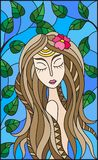 Stained glass illustration  painting with a girl with brown hair and tree branches on background of blue sky Stock Image