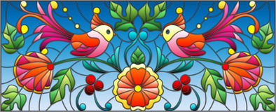 Stained glass illustration with a pair of abstract birds , flowers and patterns on a blue background , horizontal image Stock Image