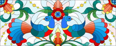 Stained glass illustration with a pair of abstract birds , flowers and patterns on a light background , horizontal image Royalty Free Stock Photos