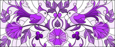 Stained glass illustration  with a pair of abstract birds , flowers and patterns  ,purple tones  , horizontal image Royalty Free Stock Photography