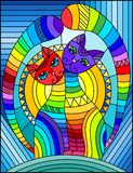 Stained glass illustration  with a pair of abstract geometric rainbow cats on a blue background with sun. Illustration in stained glass style with a pair of Royalty Free Stock Photo