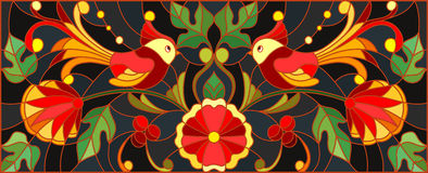 Stained glass illustration  with a pair of birds , flowers and patterns on a dark background , horizontal image,the imitation of p Royalty Free Stock Photo