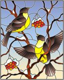 Stained glass illustration with a pair of birds titmouses on snow-covered mountain ash branches with berries on a background of t royalty free illustration
