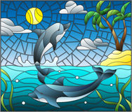 Stained glass illustration  with a pair of dolphins on the background of water ,cloud, sky ,sun and Islands with palm trees Stock Images