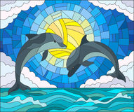 Stained glass illustration  with a pair of dolphins on the background of water ,cloud, sky and sun Stock Photos