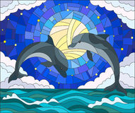 Stained glass illustration  with a pair of dolphins on the background of water ,cloud, starry sky and moon Royalty Free Stock Image