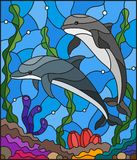 Stained glass illustration with a pair of dolphins on the background of water and the seabed. Illustration in stained glass style with a pair of dolphins on the Stock Photo