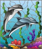 Stained glass illustration  with a pair of dolphins on the background of water and the seabed. Illustration in stained glass style with a pair of dolphins on the Stock Image