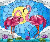 Stained glass illustration with pair of Flamingo , Lotus flowers and reeds on a pond in the sun, sky and clouds Royalty Free Stock Photo