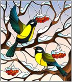 Stained glass illustration with a pair of great Tits birds on the branches of a Rowan tree on the background of snow, berries and. Illustration in stained glass Stock Photos