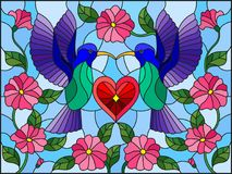Stained glass illustration with a pair of hummingbirds and a heart against the sky and flowers. Illustration in stained glass style with a pair of hummingbirds stock illustration