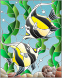 Stained glass illustration  with a pair of Moorish idols on the background of water and algae Royalty Free Stock Photo