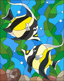 Stained glass illustration with a pair of Moorish idols on the background of water and algae Stock Photography
