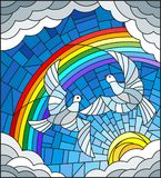 Stained glass illustration  with a pair of pigeons on the background of sky, sun , clouds and rainbow Royalty Free Stock Photos