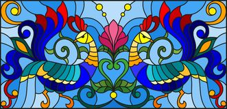 Stained glass illustration  with a pair of roosters , flowers and patterns on a blue background , horizontal image Royalty Free Stock Photos