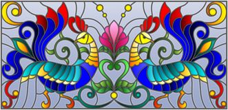 Stained glass illustration  with a pair of roosters , flowers and patterns on a blue background , horizontal image Royalty Free Stock Image