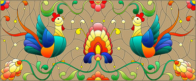 Stained glass illustration with a pair of roosters , flowers and patterns on a brown background , horizontal image Stock Images