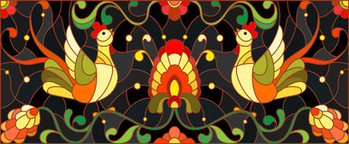 Stained glass illustration with a pair of roosters , flowers and patterns on a dark background , horizontal image,the imitation of Royalty Free Stock Image