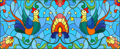 Stained glass illustration with a pair of roosters , flowers and patterns  Royalty Free Stock Image