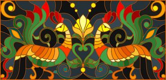 Stained glass illustration  with a pair of roosters ,  Stock Images