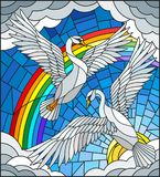 Stained glass illustration  with a pair of Swans on the background of sky, sun , clouds and rainbow Royalty Free Stock Images