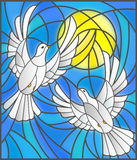 Stained glass illustration  with a pair of white doves on the background of the daytime sky and clouds. Illustration in stained glass style with a pair of white Royalty Free Stock Photography