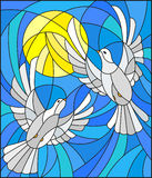 Stained glass illustration with a pair of white doves on the background of the daytime sky and clouds. Illustration in stained glass style with a pair of white Royalty Free Stock Image