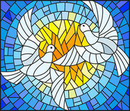 Stained glass illustration  with a pair of white doves on the background of the daytime sky. Illustration in stained glass style with a pair of white doves on Royalty Free Stock Photography