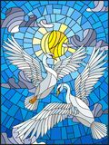 Stained glass illustration  with a pair of white Swans on the background of the daytime sky and clouds Stock Images