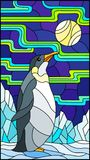 Stained glass illustration  with a  penguin on a background of snow, moon and Northern lights. Illustration in stained glass style with a  penguin on a Stock Image
