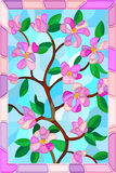 Stained glass illustration of a plant branch with leaves and pink flowers in a pink frame Royalty Free Stock Images