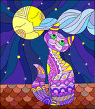 Stained glass illustration with purple cat sitting on the roof of the house in the background of the moon and the sky Stock Photography