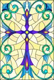 Stained glass illustration  with a purple cross on a yellow background with patterns and swirls Stock Image