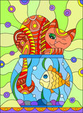 Stained glass illustration with red abstract cat and goldfish in the aquarium. Illustration in stained glass style with red abstract cat and goldfish in the Royalty Free Stock Photos