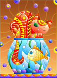 Stained glass illustration with red abstract cat and goldfish in the aquarium Royalty Free Stock Images