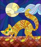 Stained glass illustration with red cat running across the roof of the house in the background of the moon and the sky Stock Photo