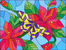 Stained glass illustration with red flowers and butterflies Royalty Free Stock Images