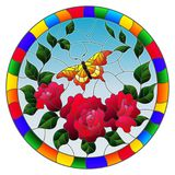 Stained glass illustration  with red flowers and leaves of  pink rose, and yellow butterfly round picture in a bright frame. Illustration in stained glass style Royalty Free Stock Photo