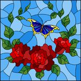 Stained glass illustration  with red flowers and leaves of  rose, and blue butterfly ,square picture. Illustration in stained glass style with red flowers and Royalty Free Stock Photos
