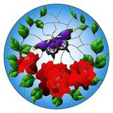 Stained glass illustration  with red flowers and leaves of  rose, and purple butterfly round picture. Illustration in stained glass style with red flowers and Stock Photos