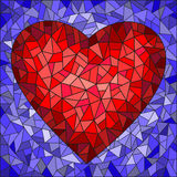 Stained glass illustration  with red heart on blue background Stock Photography