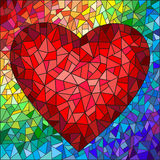Stained glass illustration with red heart on the rainbow in the background Royalty Free Stock Images