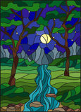 Stained glass illustration  with a rocky Creek in the background of the starry sky, mountains, trees and fields. Illustration in stained glass style with a rocky Stock Image
