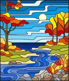 Stained glass illustration with a rocky Creek in the background of the Sunny sky, lake, trees and fields,autumn landscape. Illustration in stained glass style royalty free illustration