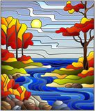 Stained glass illustration with a rocky Creek in the background of the Sunny sky, lake, trees and fields,autumn landscape. Illustration in stained glass style vector illustration