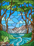 Stained glass illustration with a rocky Creek in the background of the Sunny sky, mountains, trees and fields. Illustration in stained glass style with a rocky Royalty Free Stock Photography
