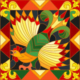 Stained glass illustration  rooster abstract bright frame, the imitation of painting Khokhloma Stock Images