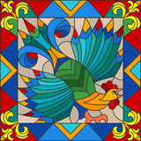 Stained glass illustration  rooster abstract bright frame Royalty Free Stock Photo