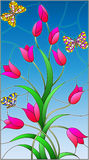 Stained glass illustration with rose buds tulips and colorful butterflies on a blue background. Illustration in the style of stained glass with rose buds tulips royalty free illustration
